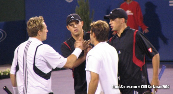 Tennis - Todd Woodbridge (left), Jonas Bjorkman (2nd from right) and Bob Bryan and Mike Bryan