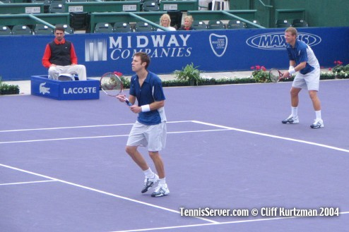 Tennis - Daniel Nestor (service line) and Mark Knowles (baseline)