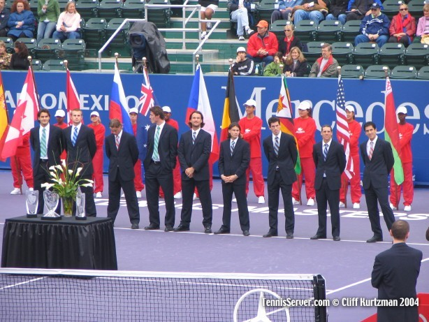 Tennis - Masters Cup 2004 Opening Ceremony, singles players from left: Roger Federer, Andy Roddick, Lleyton Hewitt, Marat Safin, Carlos Moya, Guillermo Coria, Tim Henman, Gaston Gaudio, Guillermo Canas (alternate)