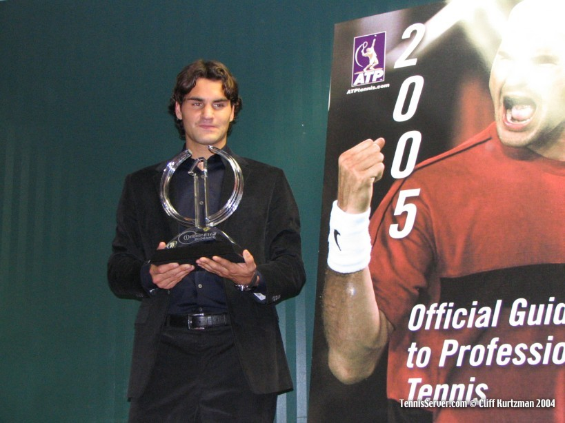 Tennis - Roger Federer with trophy for 2004 number one year end ranking