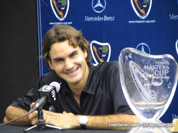 Tennis - Roger Federer with 2004 Masters Cup Trophy