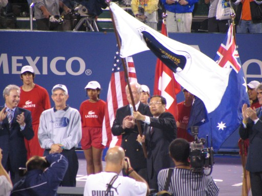 Handing of the Masters Cup flag over to the Shanghai delegation